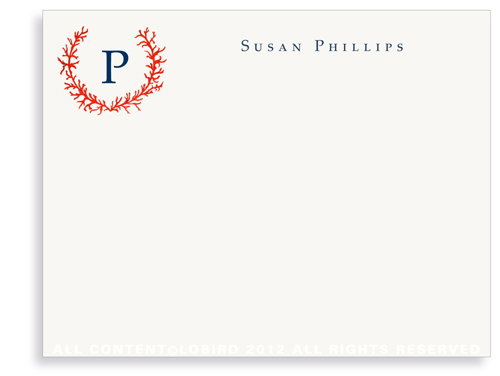 Coral Crest Monogram - Flat Note Cards