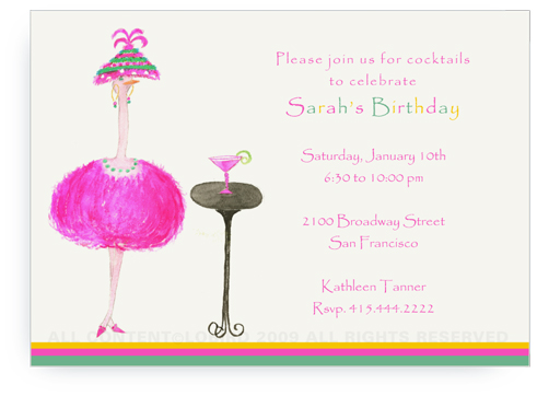 Pink Ostrich - Lulu with Cocktail - Invitations