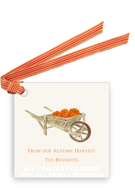 Pumpkins in Wheelbarrow - Gift Tags