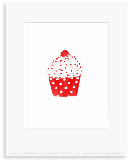Cupcake with red polka dots - 8 x 10 Print in 11 x 14 Mat
