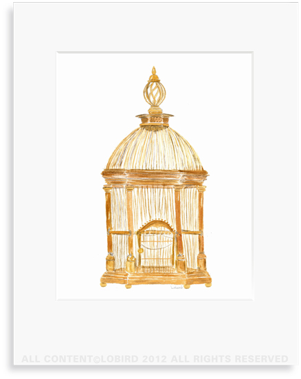 Antique French Brass Birdcage - 8 x 10 Print in 11 x 14 Mat