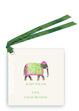 Festive Elephant with Floral Tapestry - Fuchsia - Gift Tags