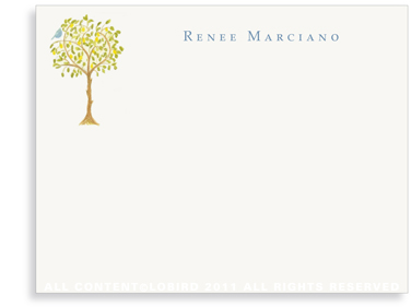 Lemon Tree with Bird - Flat Note cards
