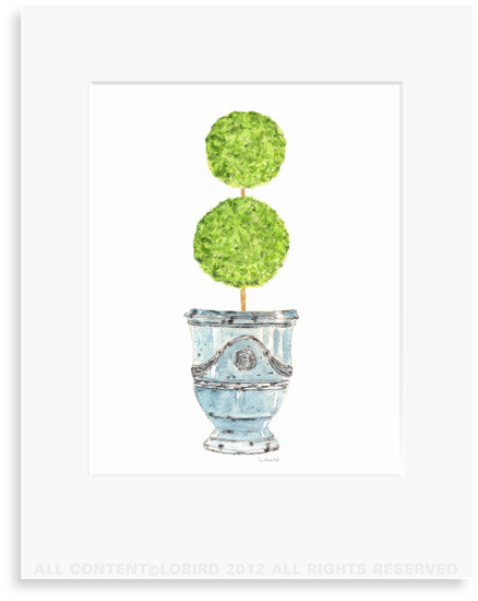 Antique Anduze-Turquoise with double ball Topiary - 8 x 10 Print in 11 x 14 Mat