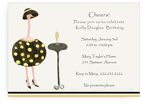 Gold Ostrich - Dottie with Cocktail - Invitations