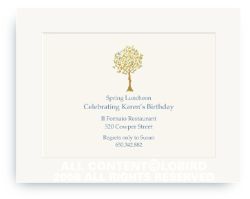Tangerine Tree with Bird - Invitations