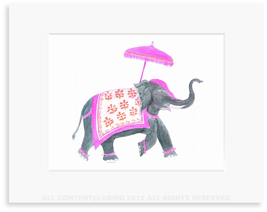 Festive Elephant – Fuchsia/Orange - 8 x 10 Print in 11 x 14 Mat