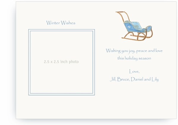 Vintage Blue Child's Sled - Photo Greeting Cards