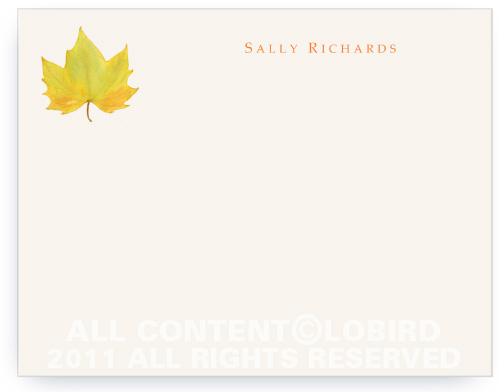 Yellow Autumn Leaf - Note Cards