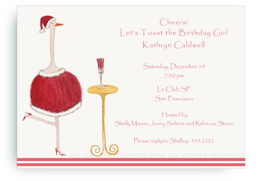 Holiday Ostrich with Champagne - Invitations