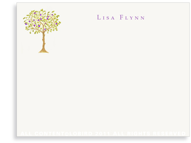 Purple Fruit Tree - Flat Note cards