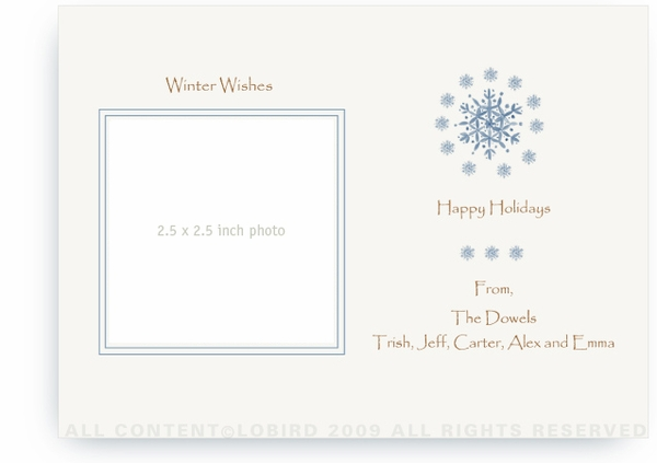 Blue Snowflakes - Photo Greeting Cards