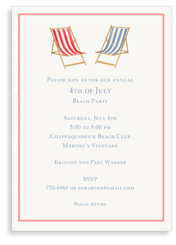 Beach Chairs-Blue-Red -Invitations
