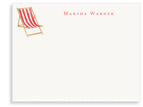 Beach Chair - Red - Flat Note Cards