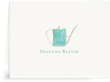 Turquoise Watering Can - Folded Note Cards