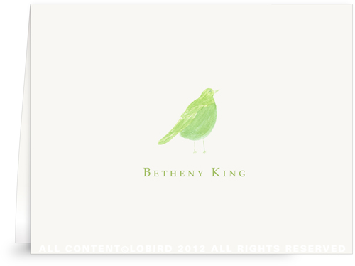 Green-Song Bird - Folded Note Cards