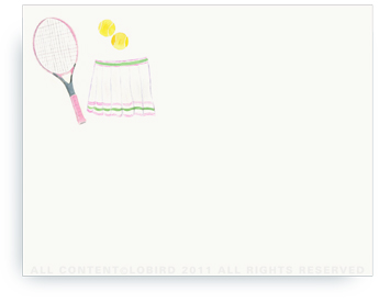 "Pink Tennis Racket with Skirt - Non-Personalized Note Cards (4.25"" X 5.5"")"
