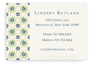 Talavera Tile - Navy/Green - Calling Cards