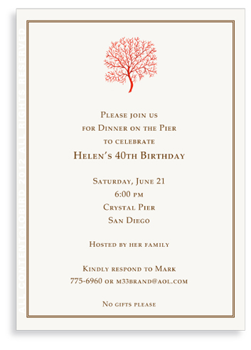 Coral Fan - Red- Invitations