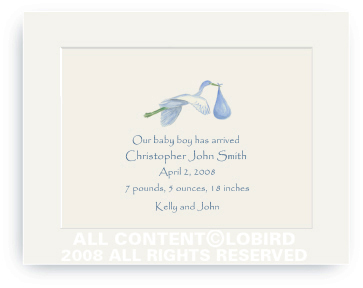 Flying Blue Stork - Baby Announcements