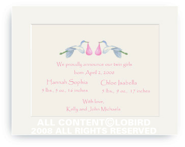 Twins Flying Pink Storks - Baby Announcements