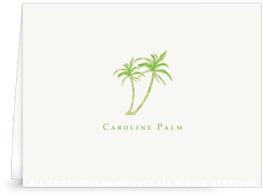 Twin Green Palms - Folded Note Cards