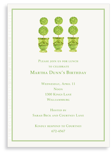 Trio of Green Anduze pots  with Topiaries -Invitations