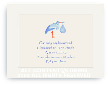 Blue Stork Standing - Baby Announcements