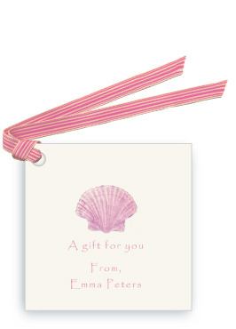 Pink Scallop Sea Shell - Gift Tags