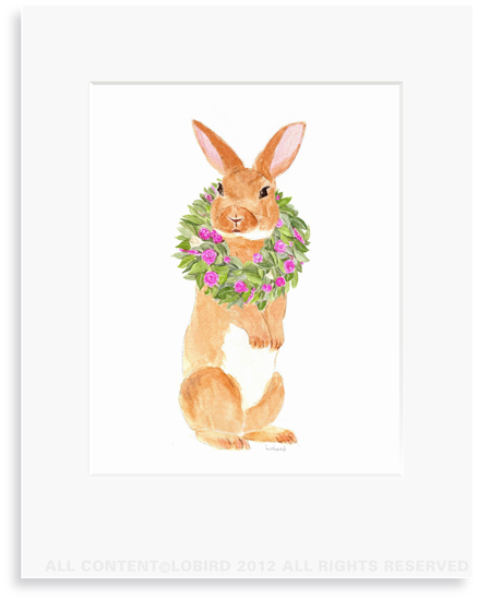 Brown Rabbit with Spring Wreath - 8 x 10 Print in 11 x 14 Mat
