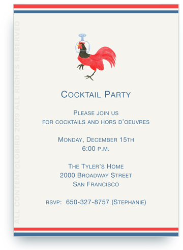Rooster Wearing Cocktail Glass on Head - Invitations
