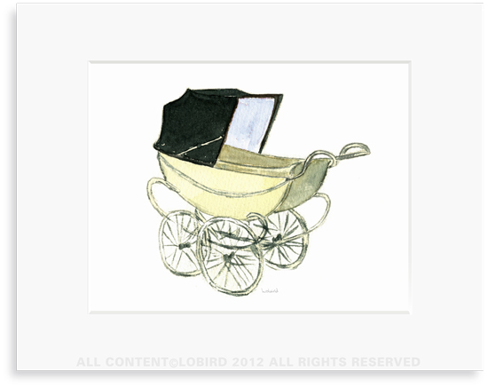 Baby Carriage-Blue - 8 x 10 Print in 11 x 14 Mat