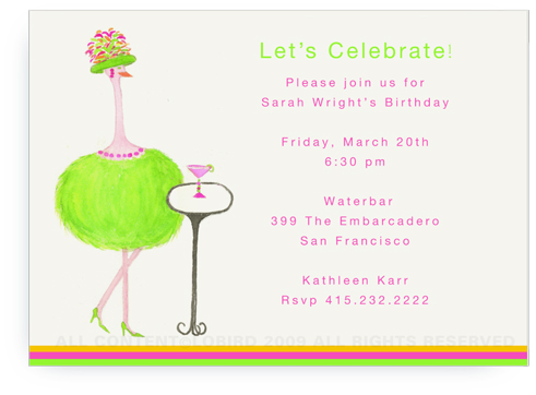 Green Ostrich - Gabby with Cocktail - Invitations