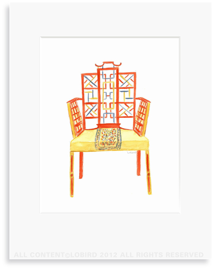Chinese Chippendale Chair - 8 x 10 Print in 11 x 14 Mat