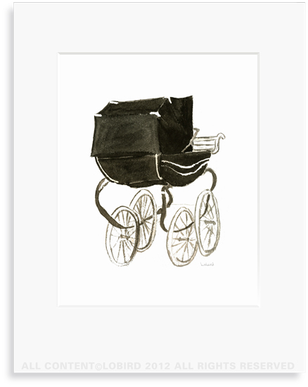 Black Pram - 8 x 10 Print in 11 x 14 Mat
