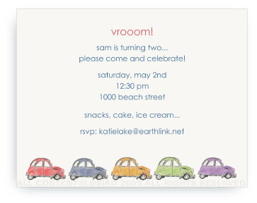French Village Cars  (Multi-Color) - Invitations