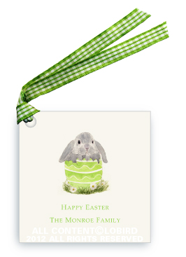 Floppy Bunny in Green Egg - Gift Tags