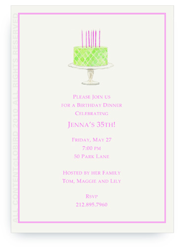 Beaded Birthday Cake - Spring Green - Invitations