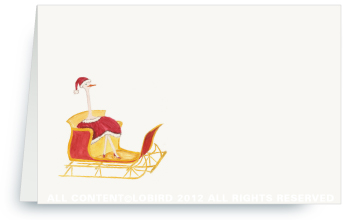 Holiday Ostrich in Sleigh - Place Cards