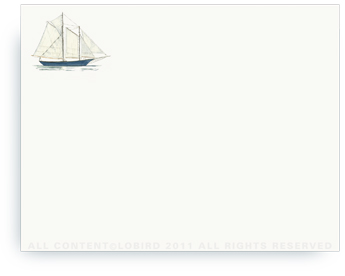 "Schooner - Non-Personalized Note Cards (4.25"" X 5.5"")"