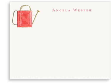 Red Watering Can - Flat Note cards