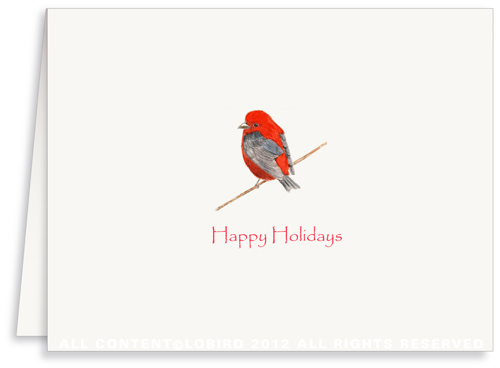 Scarlet Holiday Bird - Greeting Card
