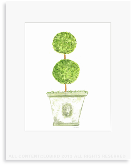 Antique Lion Pot  with Double Ball Topiary - 8 x 10 Print in 11 x 14 Mat
