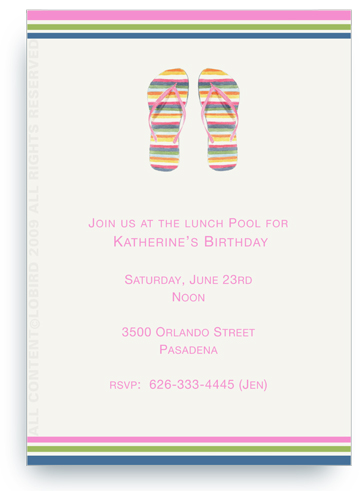 Striped Flip Flops - Invitations