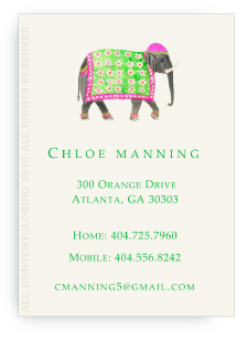 Festive Elephant with Floral Tapestry - Fuchsia - Calling Cards