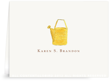 Yellow Watering Can - Folded Note Cards