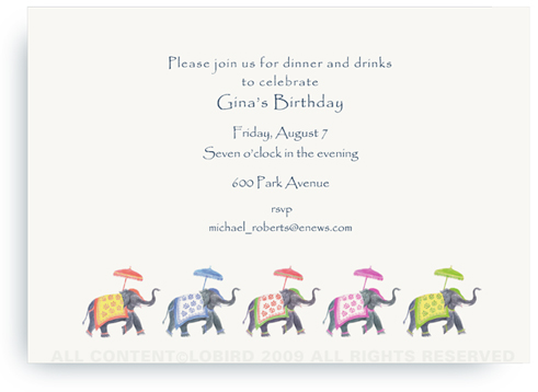 Festive Elephants - Color Parade - Invitations