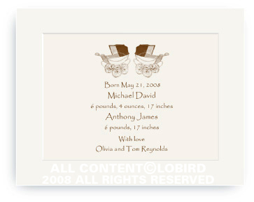 Twin Vintage Brown Baby Carriages - Baby Announcements