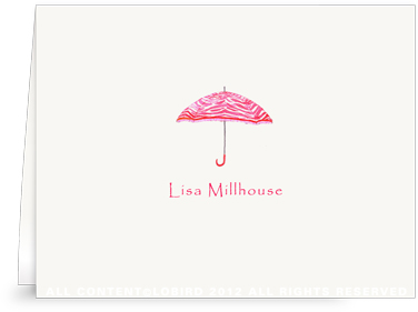 Zebra Umbrella - Strawberry Red - Folded Note Cards