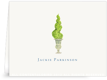 Antique Urn-Spiral topiary - Folder NoteCards